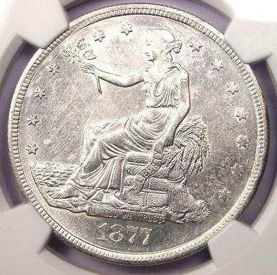 1877-S Trade Silver Dollar T$1 - NGC Uncirculated - Rare Date UNC BU MS Coin!
