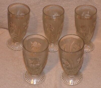 "5 IRIS & HERRINGBONE CRYSTAL 6"" FOOTED TUMBLERS - Jeannette Glass Company"