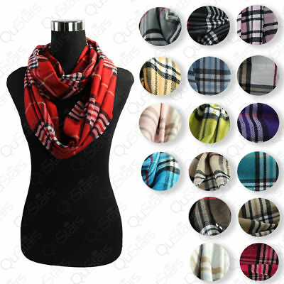 Wholesale Lot of 12 pcs Plaids &Check Soft Mixed Colors Infinity Scarf- Randomly
