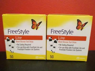 100 New Freestyle Lite Glucose Test Strips Exp: 03/2019 & 04/2019