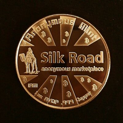"1 OZ Copper ROUND  BITCOIN ""Silk Road"" 2nd in Series of Three - FREE SHIPPING"