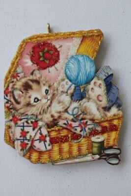 Kitten in a Sewing Basket * Wood Ornament * Vintage Card Image * Glittered