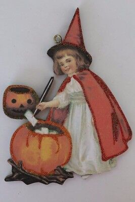 Girl in Red Witch Costume * Halloween Ornament * Vintage Card Image * Glitter