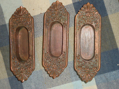 Lot of 3 Antique Victorian Window Sash Finger Pull Lift for double hung yr 1887