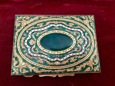 Vintage Brass & Gilt And Enamel Compact /pill Box Italy