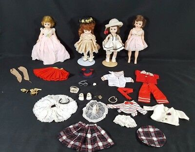 LOT OF 4 MADAME ALEXANDER DOLLS CISSETTE w OUTFITS  DRESS AND HATS WITH FLOWER