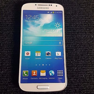 ATT Samsung Galaxy S4 White Frost Demo used Display Smart Phone