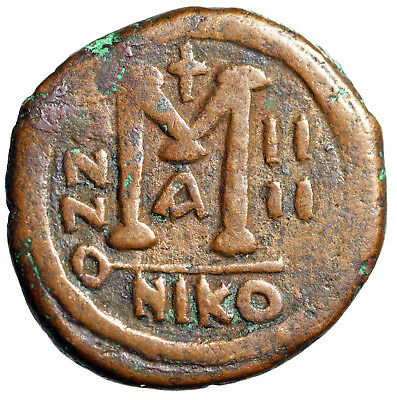 SCARCE Nicomedia Mint 29mm Follis of Justin II With Wife Sophia Dated 568/9 AD