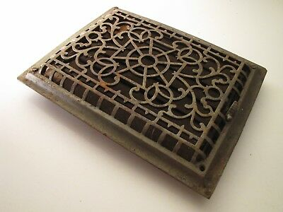 LARGE RECTANGLE VICTORIAN Ornate Cast Iron Register Heating Grate Vent RARE !!