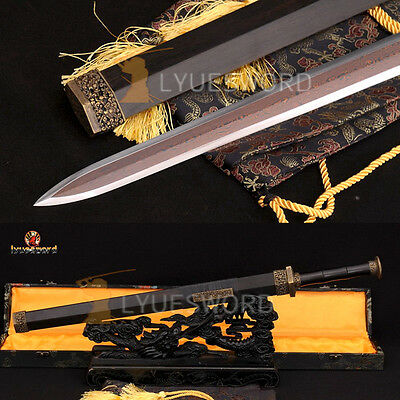 Hand Forged Chinese Sword Jian Top Quality Red Damascus Blade Folded Steel Sharp