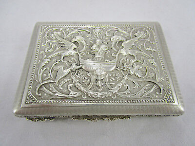 Antique 800 Contintental Solid Silver HIghly Detailed Griffins w/Gilt Snuff Box