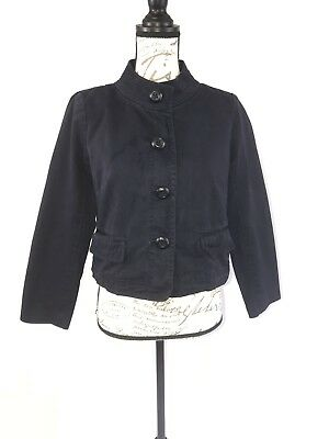 J Crew Women's Cropped Chino Jacket Navy Blue Broken In Classic Twill Size 6