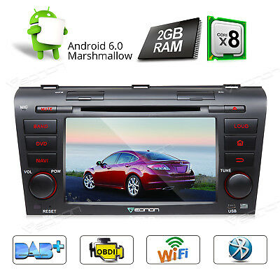 "7"" Head Unit Android 6.0 Octa Core Car DVD GPS Navigator Bluetooth For Mazda 3 W"