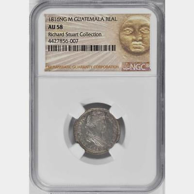 1816 M Guatemala Real, NGC AU 58, Rare Date, The Only Coin Graded @ NGC