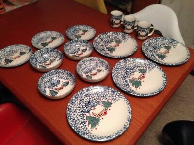 Tienshan Folk Craft Cabin in The Snow Plates, Mugs, & Bowls 14 Pc (READ)