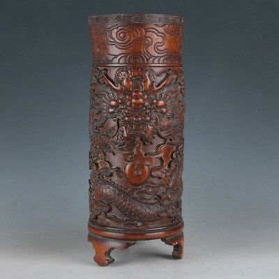 Chinese Bamboo Pole Hand Carved Dragon Brush Pot  DY425