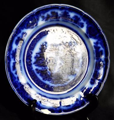 """ca.1834 THE TEMPLE 9"""" Staffordshire Pearlware Flow Blue Plate Podmore Walker"""