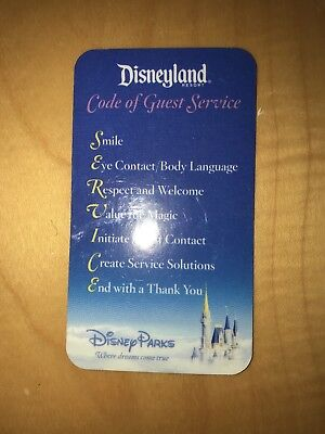 Rare Disneyland Code of Guest Service Cast Member Card 2007