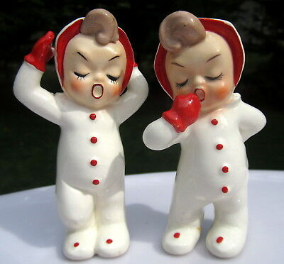 Pair of 2 SWEET Vtg SLEEPY Christmas BABY Elves PIXEY Figurines LEFTON? Napco?