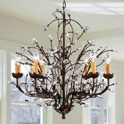 Antique Bronze 6-light Crystal And Iron Chandelier Light Fixture Dining Room NEW