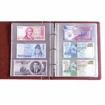 180*80 1 Album Page 3Pocket Money Bill Note Currency Holder PVC Collection Solid