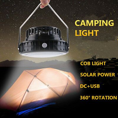 Portable 2 in 1 Outdoor Solar Power Rechargeable COB Camping Tent Light With Fan