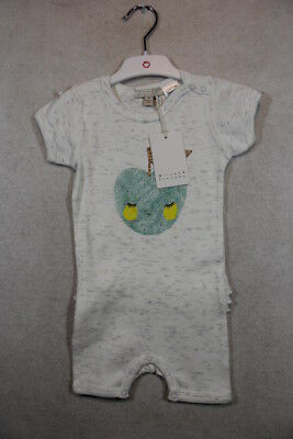 Baby Girl Size 00,0 Wilson & Frenchy Summer Grey Marle Little Apple Romper NWT