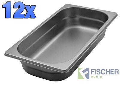 """""""BRAND NEW"""" 12 PACK OF 1/3 STAINLESS STEEL GASTRONORM TRAYS 176mm x 325mm x 65mm"""
