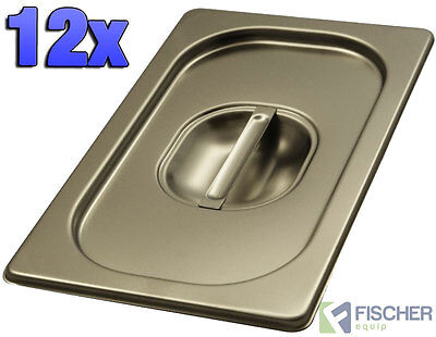 """""""BRAND NEW"""" 12 PACK OF 1/4 STAINLESS STEEL GASTRONORM TRAY LIDS 163mm x 265mm"""