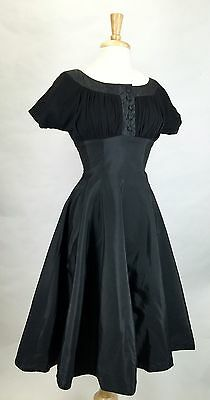 Sexy! Vtg 50s Shelf Bust Fit & Flair Nip Waist Bombshell Cocktail Party Dress S
