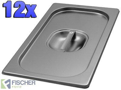 """""""BRAND NEW""""12 PACK OF 1/3 STAINLESS STEEL GASTRONORM TRAY LIDS 176mm x 325mm"""