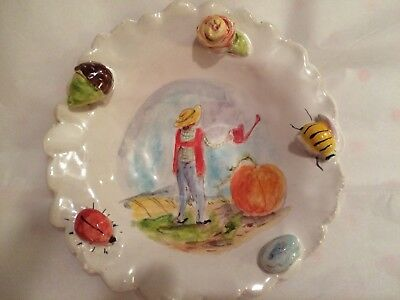 Julie Whitmore Pottery 5 Inch Fall Plate With Pumpkin- Mint