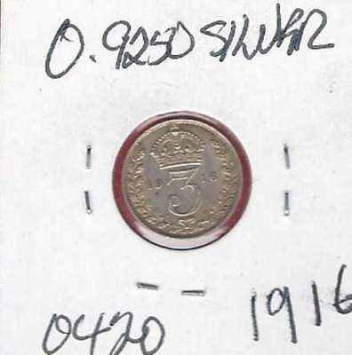 UK 1916  GEORGE V THREE PENCE 92.5 % SILVER COIN Higher Grade!