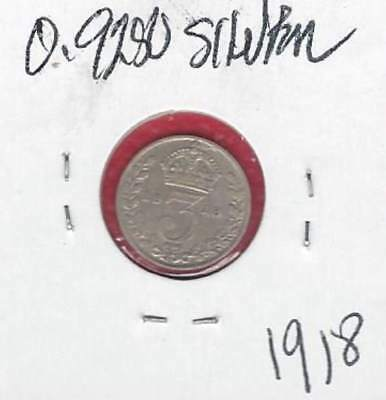 UK 1918  GEORGE V THREE PENCE 92.5 % SILVER COIN Higher Grade!
