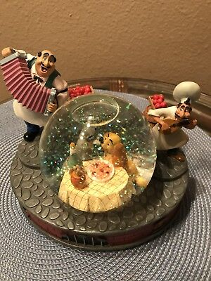 """Disney Lady and the Tramp  Snow Globe """"Bella Notte"""" SF Music Company"""