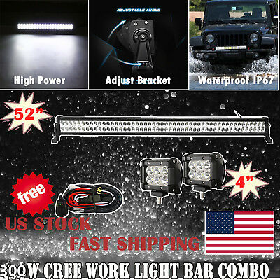"""52Inch Led Work Light Bar Combo  + 4"""" Cree Pods Offroad Suv 4Wd Atv Ford Jeep 50"""