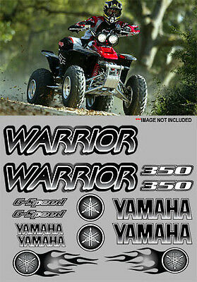 Yamaha Warrior Decals BLACK Full Color Stickers Graphic 14pc ATV QUAD, 350