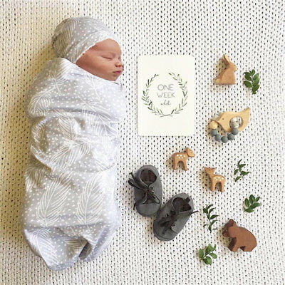 Newborn Infant Baby Swaddle Blanket Baby Sleeping Swaddle Muslin Wrap Hat