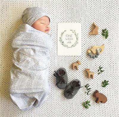 Newborn Cotton Swaddle Muslin Blanket Baby Wrap Swaddling Blanket Hat Set