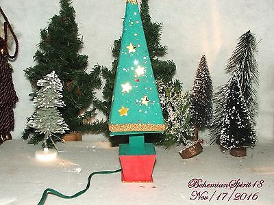 RARE Antique JAPAN 1920's paper CHRISTMAS TREE WITH LIGHT PLUG Putz village