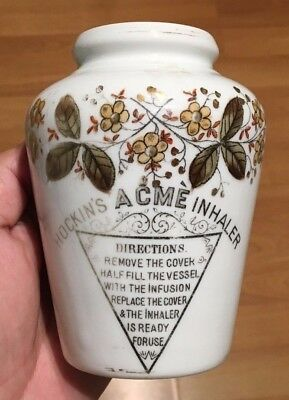 HOCKIN'S ACME CHEMIST INHALER CERAMIC 1910's SCARCE!