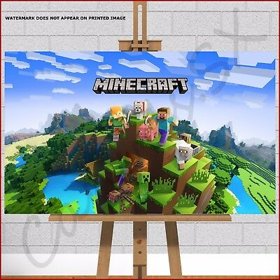 MINECRAFT game canvas print picture Steve Zombie Dog Duck Pig Stampy Creeper