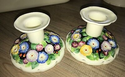 Pair Of plant tuscan china candle sticks Lovely Floral Patterned