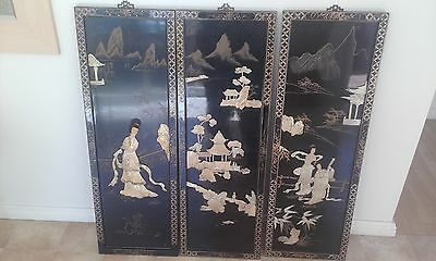 3 Lovely Japanese mother of pearl wall panels on black Lacquered wood