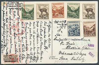 Slovakia 1941 postcard to Germany with German censorship marks, fiscal stamp