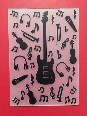 NEW• GUITAR MUSIC EMBOSSING FOLDER For Cuttlebug Or Sizzix