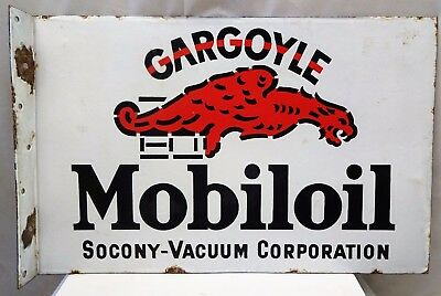 Mobil Oil Socony- Vacuum Corporation Vintage Porcelain Enamel Sign Collectibles