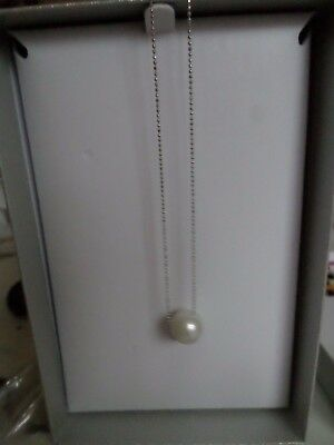 honora pearl single pearl slider pendant and 45cm sterling silver chain boxed