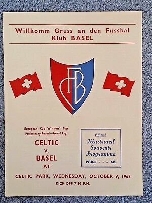1963 - CELTIC v BASEL PROGRAMME - CUP WINNERS CUP PRELIM RD - V.G CONDITION