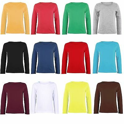 Girls Long Sleeve Top Kids Plain All Colour Tee Tops T-Shirt New Age 2-12Year